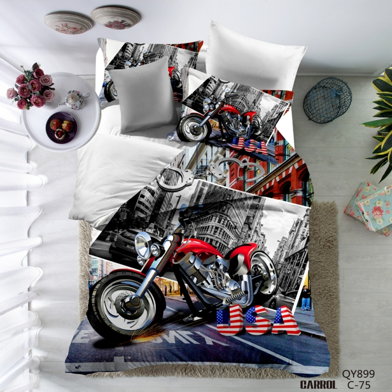 Lai Yin Sun HOT SALE 3D Duvet cover sets include duvet cover Pillow cases 3D Bedding set Twin Queen 2OR 3PCS Motorcycle