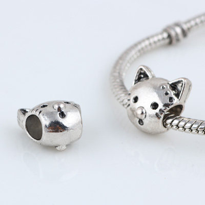 10 Pcs a Lot Alloy Beads Spot Round DIY Cat Beads Spacer Murano Chunky Bead Charm Pendant Fit For Pandora Charms Bracelet Charms