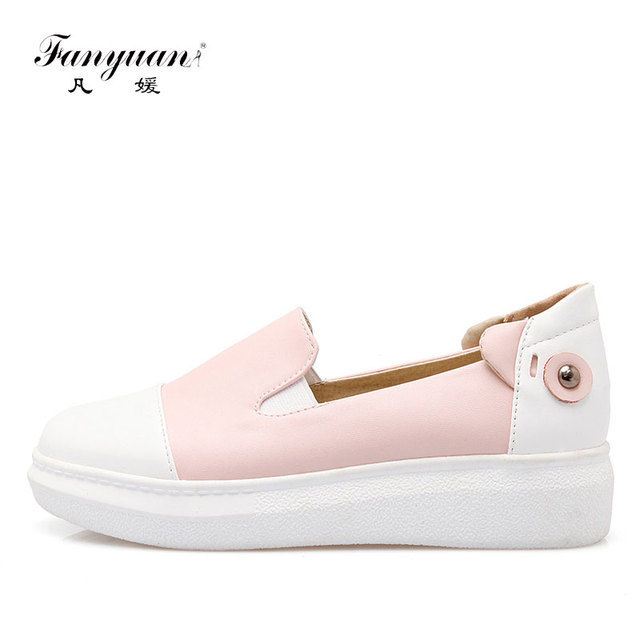 55a985f5bfb1 Fanyuan New Design Mixed Color Casual Loafers Women Shoes Soft Creepers Woman  Flat Shoes Slip-On Platform Date Ladies Shoes