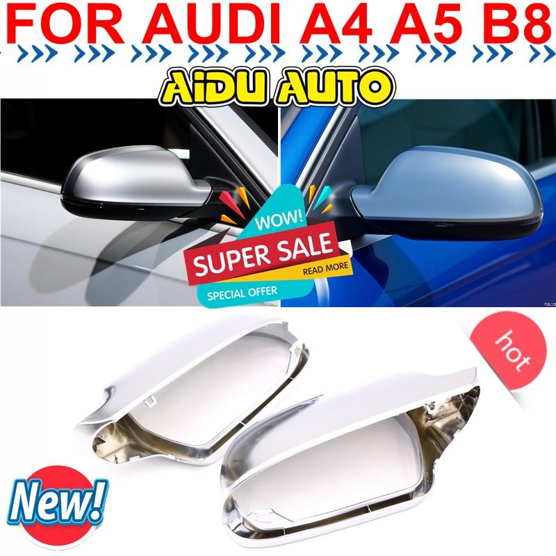 1 Pair For Audi A4 S4 A5 S5 B8 8 5 matt chrome Silver mirror case