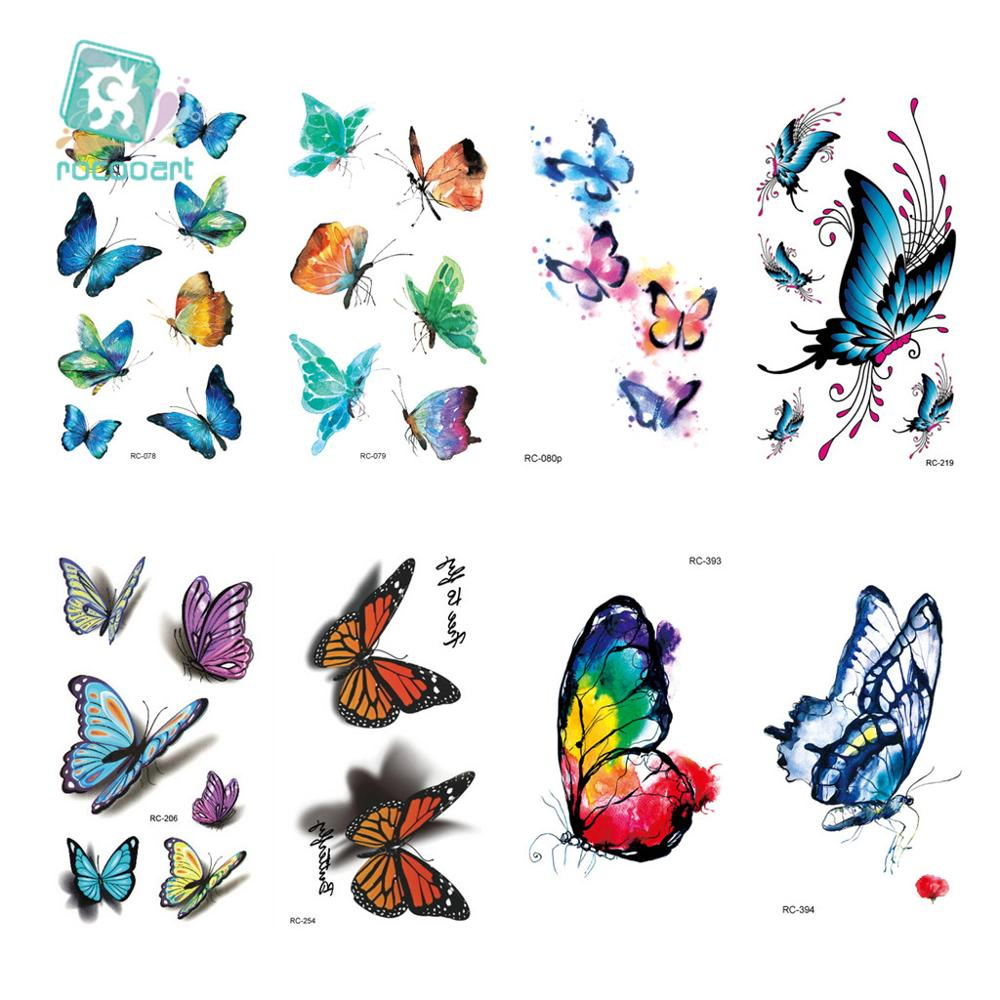 20 Different 2019 Classic Pretty Butterfly Tattoo Waterfproof Fake Temporary Tattoo Sticker Body Tattoo Small 105x60mm