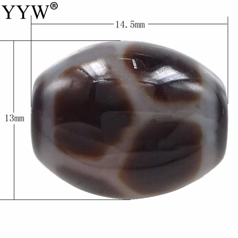 5 PCs/Lot 2017 naturel pierre perles Naturel Tibétain Dzi Perles Ovale longévité et deux tons, 14.50x13mm, trou: Environ 2mm, vendu Par Lot