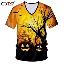 CJLM Halloween New Forest Men's Short Sleeve Tee Shirt 3D Printed Devil Pumpkin Man Chinese Style V Neck Tshirt Wholesale(Hong Kong,China)