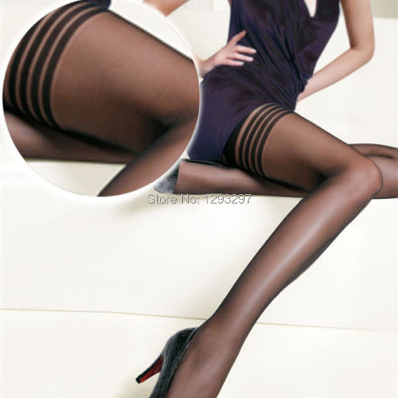 2pcs Women Fashion Black Sexy Stockings Top Stripe Stay Up Thigh High Knee Stocking Tights New GfNF