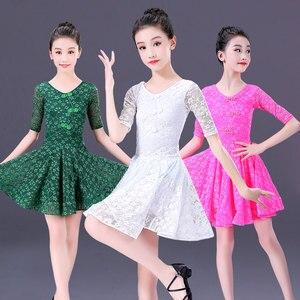 Image 4 - Robe latine en dentelle pour filles, jupe Tango Sumba, demi manches pour danse latine, tenue de danse pour salle de bal