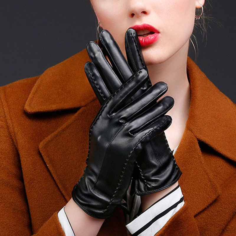 Women Outdoor Gloves PU Leather Plush Windproof Full Finger Touches Screen Mittens Autumn Winter Lady Causal Warm Glove