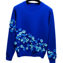 Girl Women Autumn Spring Italy France Russia Handmade Flower Embroidery All-match Knitted Streewear Rabbit Sweater Tops Female