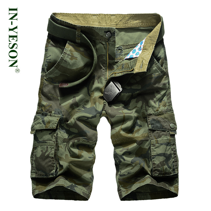 2018 New Military Camouflage Shorts Men Brand IN-YESON Loose Cotton Knee Length Summer Short Masculino Tactical Cargo Shorts
