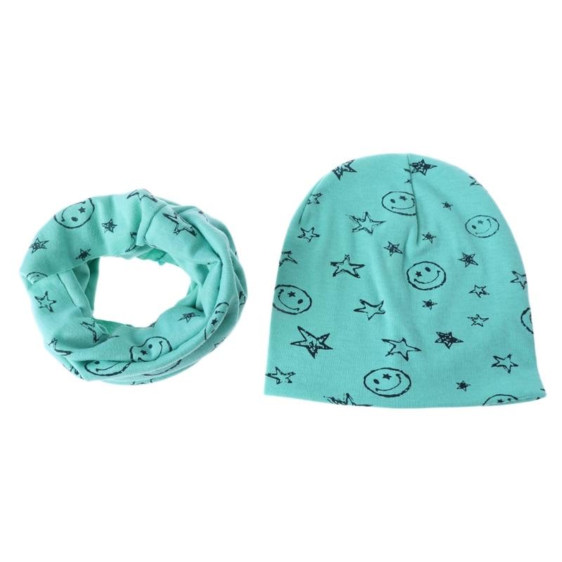KLV Set Of Baby Neckerchief Hat Pentagram Scarf Infant Toddler Winter Warm Boy Girls