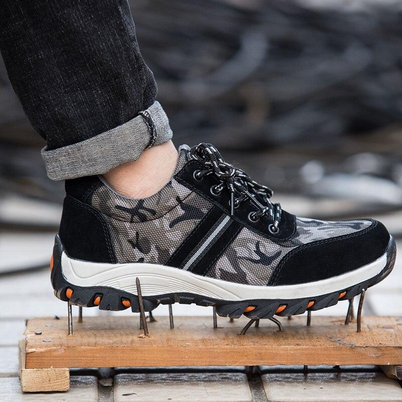 Más tamaño 47, 48 hombres al aire libre botas de trabajo con punta de acero zapatos hombres punción prueba seguridad antideslizante