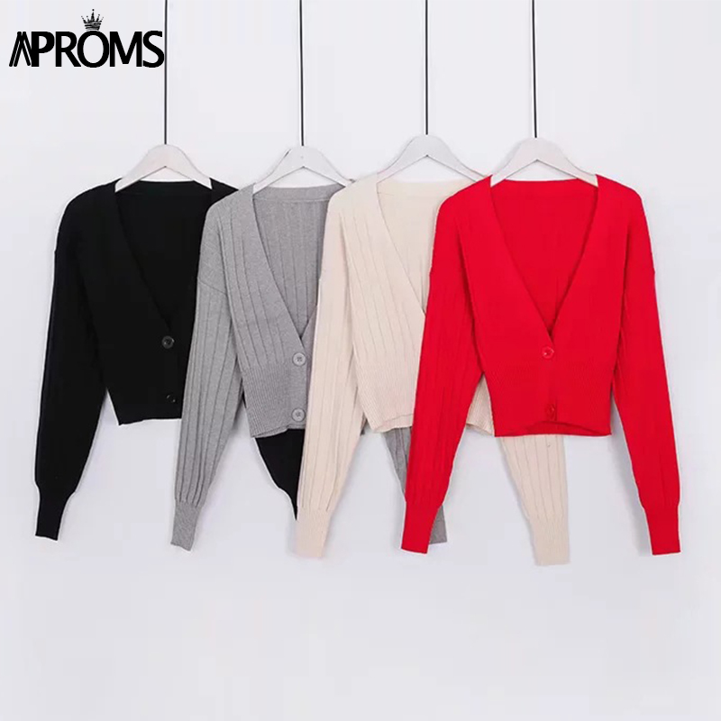 Aproms Deep V Knitted Cropped Cardigans Sweaters Women Autumn Winter Green Long Sleeve Button Knit Warm Sweater Jumper Pull 2019
