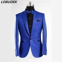 Royal Blue Host Blazer Jacketmale Male Costume Designer Fashion Men Casual Splicing Link Fence Prom Party