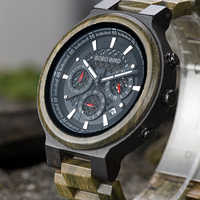 BOBO BIRD Green Sandalwood Wooden Watch Men Timepieces Chronograph Quartz Watches Ultra-Light relogio masculino Great Gifts