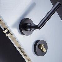 Black solid brass door locks bedroom interior door handle lock cylinder security lock Anti theft Gate Lock Furniture Hardware