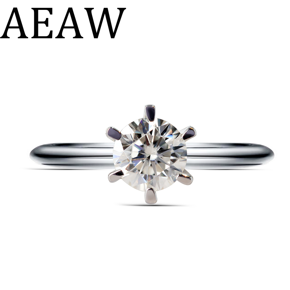 AEAW 0.5ct 5mm Round Cut EF VVS1 Moissanite 925 Silver Ring Diamond Test Passed Fashion Love Token Fashion Girlfriend Gift