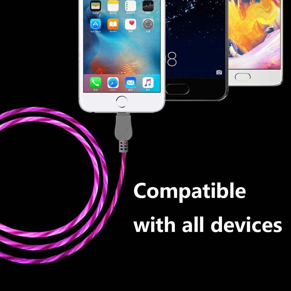 USB כבל סוג C כבל זורם LED זוהר טעינת נתונים Sync נייד טלפון כבלים עבור IPhone 6 אנדרואיד סמסונג S9 USB טעינת קו