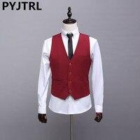 PYJTRL Automne Nouvelle-Angleterre Casual Hommes de Gilets De Mariage de Gueules Rouge Robe Gilets Pour Hommes De Mode D'affaires Marée Costume Gilet