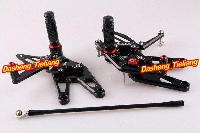 CNC регулируемый задний Набор подножки для Yamaha YZF R6 2003 2004 2005& R6S 2006 2007 2008 2009 Алюминиевый сплав черный