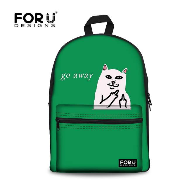 Online Shop Women Canvas Backpack Go Away Cat Middle Finger Funky Backpacks  High School Students Shoulder Bag Casual Travel Rucksack Bags  cf63368f29d1b