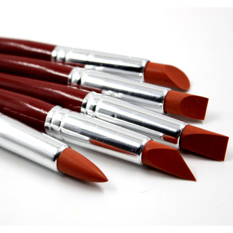 5 Pcs/set Large Size Red Wooden Poles Rubber Silicon Rubber Pens Soft Clay And Nail Carving Tools