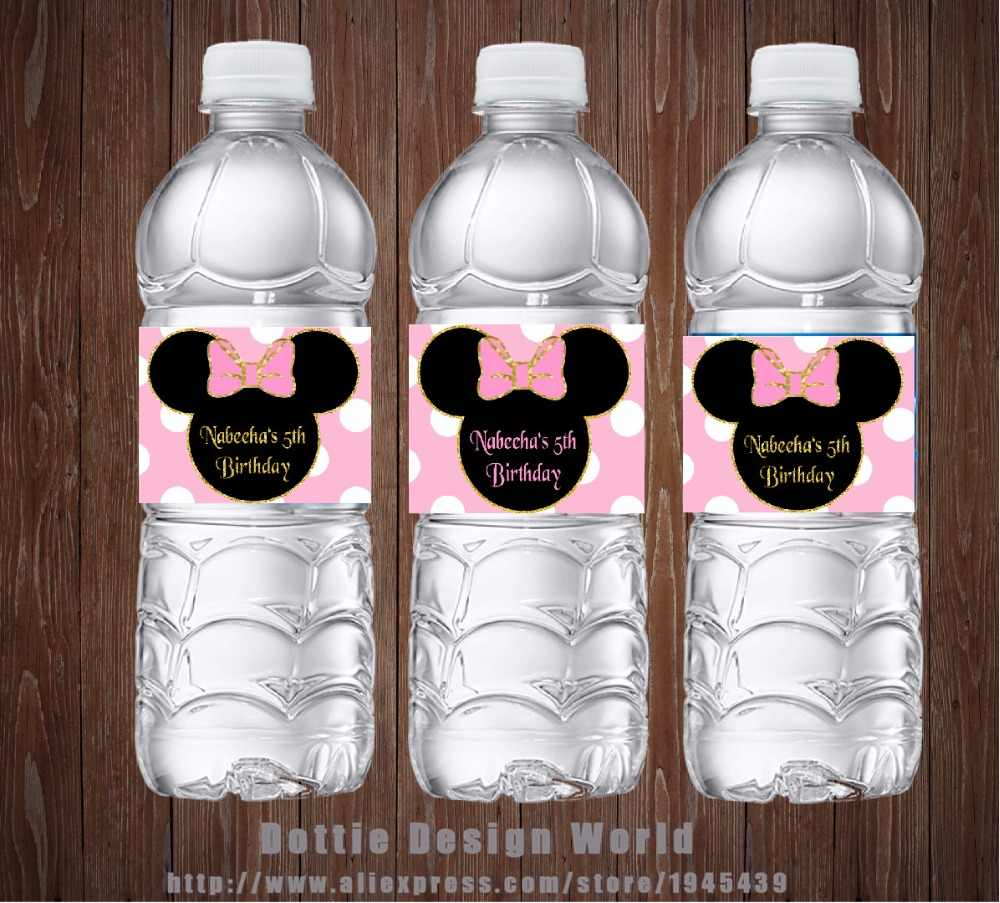 20 pcs/lot Minnie Mouse with Pink Dot Water Bottle Labels Candy Bar wrapper Baby shower Birthday party decoration free shipping
