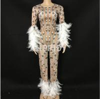 Fashion Sparkly Rhinestones White Feather Spandex Jumpsuit Long Sleeves Sexy Bodysuit Big Leggings Birthday Party Nightlcub Sing