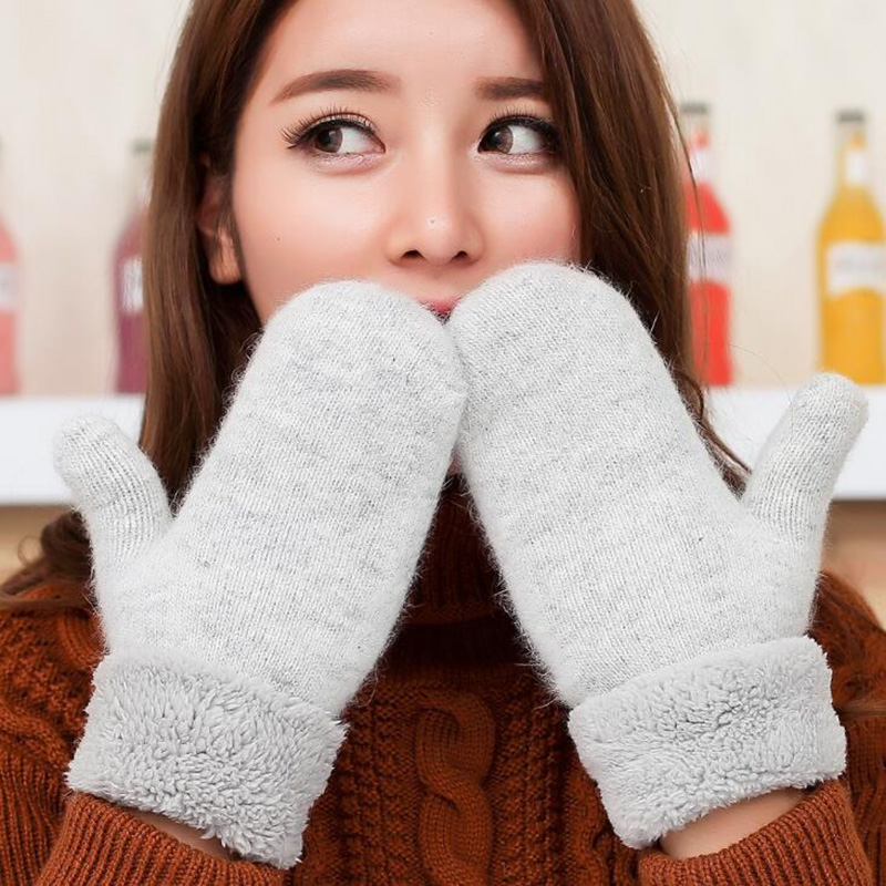 Lovely Female Winter Knit Wool Thicker Cashmere/Velvet Warm Black Gloves Ladies Cute Fingerless Women Solid Mittens Guantes L83