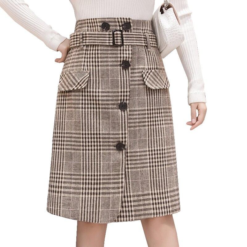 1a492719f11a08 Kopen Goedkoop 2018 nieuwe wollen plaid rok vrouwen herfst winter sjerpen  knoppen pocket midi knielengte rokken slit elegante dames office rok Prijs