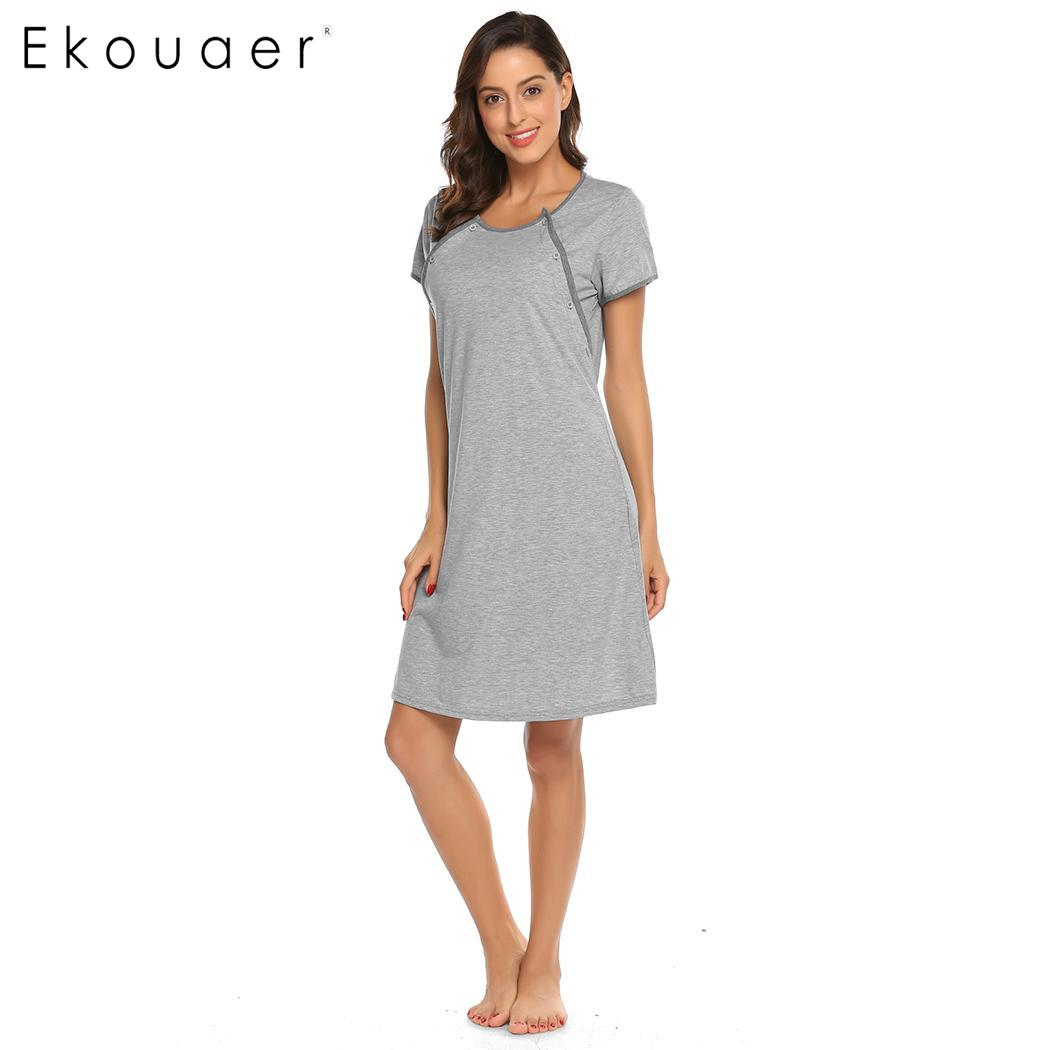 60eabea3cb2 Ekouaer Nightgown Women Sleep Dress Maternity Nursing Breastfeeding Gown  Robe Nightgowns Female Nightdress Sleepshirts