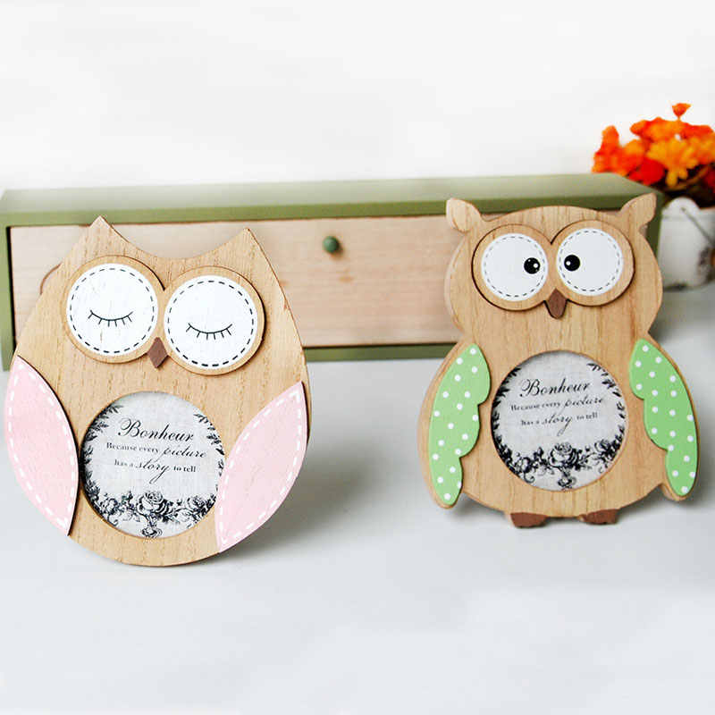 Mini Cute Owl Vintage Photo Frame Baby Picture Frames Wall Photo Frame Photoframe Wood Home Desktop Decoration Gift for Friend