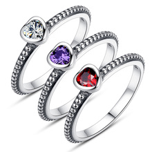 Wholesale 3 Colors Red Purple White Authentic Silver Ring Love Heart Rings Fashion Jewelry Woman Wedding Ring Jewelry P7210