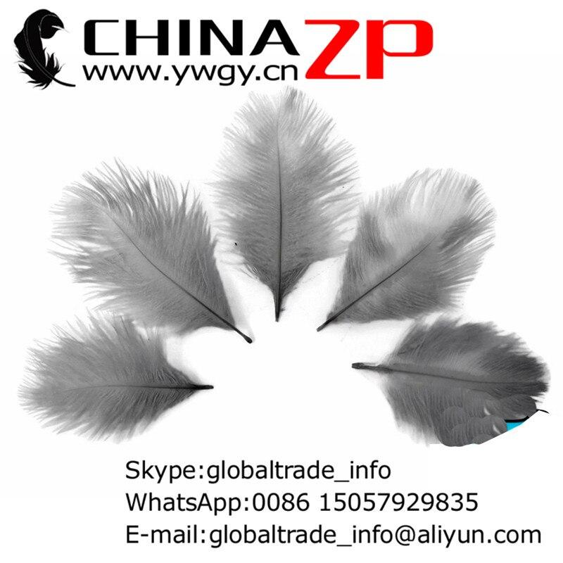 2398b7f6b522e CHINAZP Fábrica 15-20 cm (6-8 polegada) 500 pçs lote Nova Chegada Tingido  Cinza Avestruz Confete penas