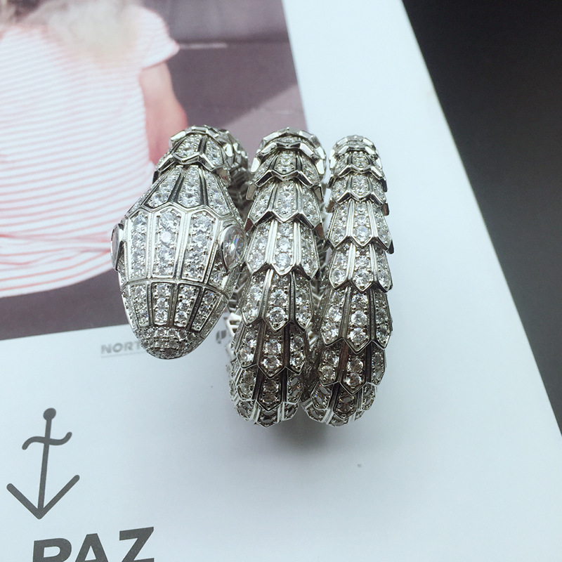 Charm jewelry custom personality exaggerated full crystal three rings bracelet large female stretch snake braceletCharm jewelry custom personality exaggerated full crystal three rings bracelet large female stretch snake bracelet