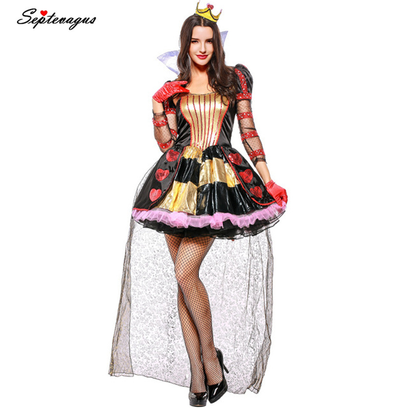 <font><b>Alice</b></font> <font><b>in</b></font> <font><b>Wonderland</b></font> Red Queen <font><b>Costume</b></font> for Adult Halloween <font><b>Sexy</b></font> Queen Cosplay for Women Fancy Party Uniform Funny Dresses image