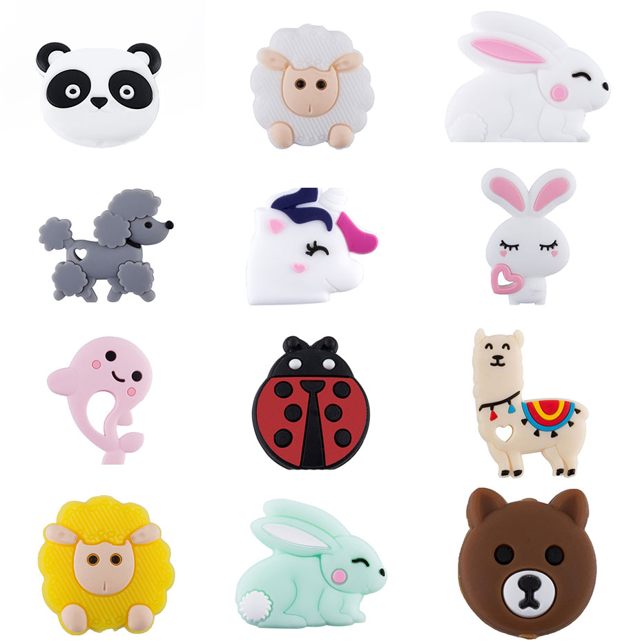 3pc Silicone Beads Teething Childen's Goods Rodent Animal Panda Baby Teether DIY For Pacifier Chain Necklaces Pendant  Bite Chew