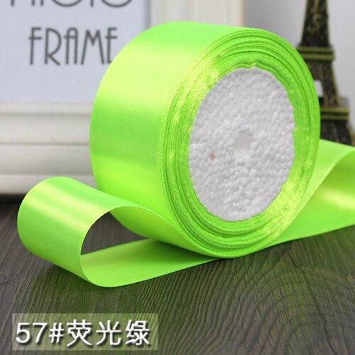25 ярдов/рулон 6 мм, 10 мм, 15 мм, 20 мм, 25 мм, 40 мм, 50 мм, шелковые атласные ленты для рукоделия, швейная лента ручной работы, материалы для рукоделия, подарочная упаковка - Цвет: Fluorescent green
