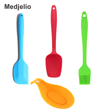 Medjelio 4Pcs/set Kitchen Silicone Cooking Tools Shovel Spoon Baking Accessories Pastry Spatula Rests Mats BBQ Scraper Brush