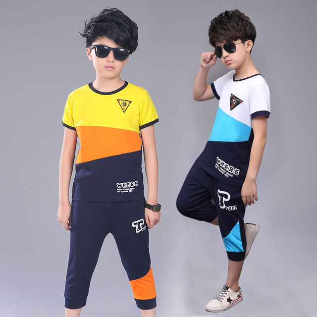 Active Teen Boys Clothing Sets Summer Cotton Child Tracksuit 2 Pcs Casual Letter Patchwork Tshirt Pants Kids Clothes Sports Suit 2