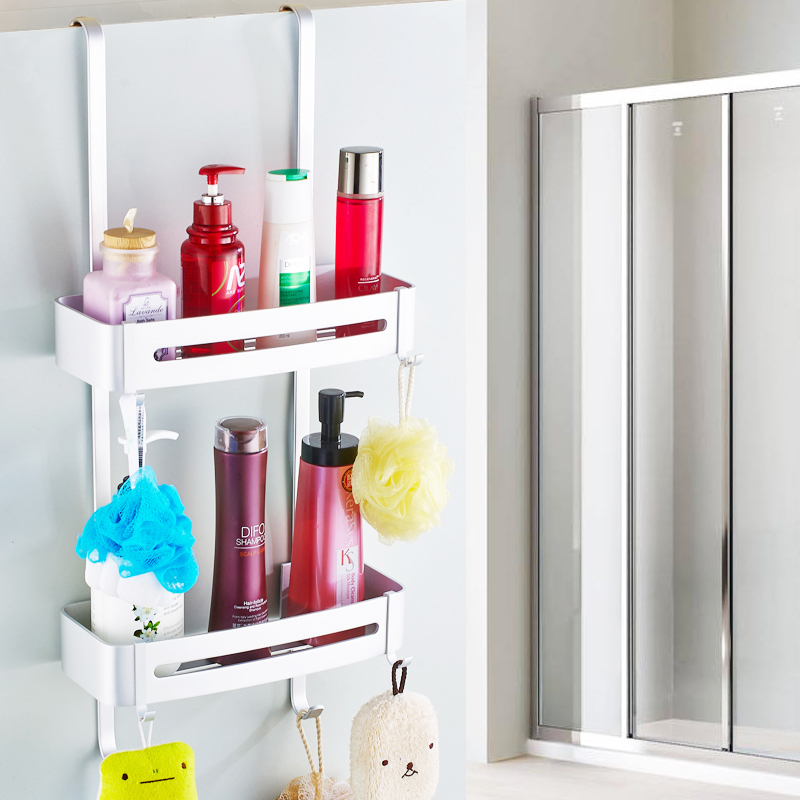 Nail Free Space Aluminum Shower Caddy Wire Basket Storage Shelves Single Layer