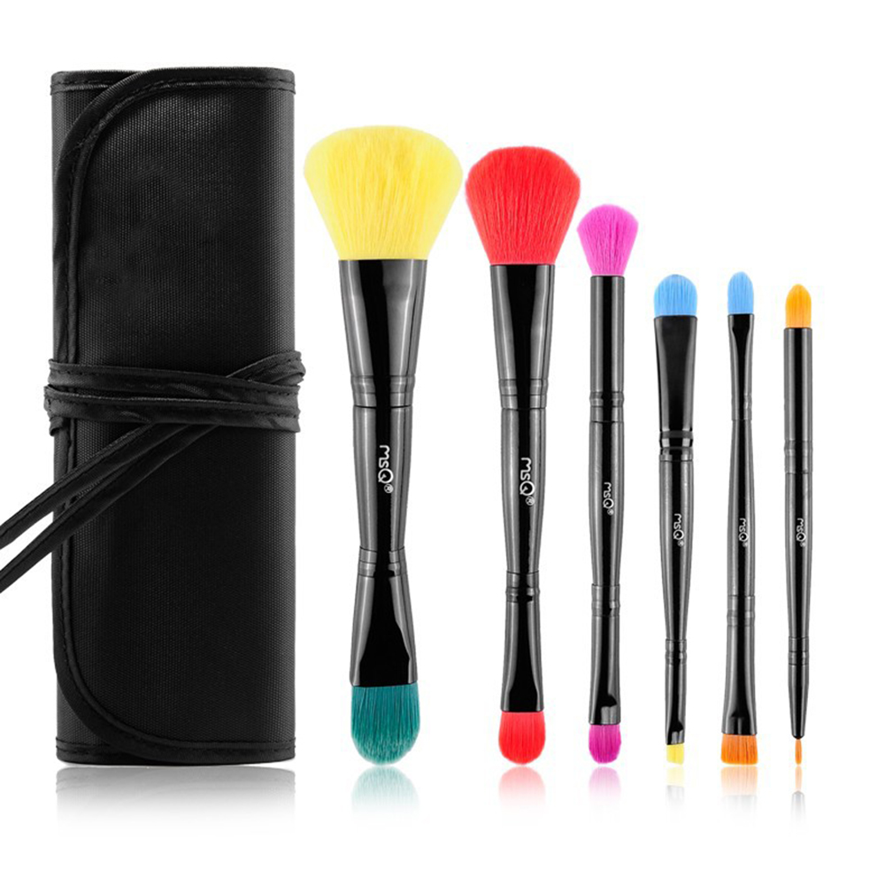 MSQ Professional 6pcs Makeup Brushes Set Colorful Double Head Foundation Eye shadow Brush Differnet Size Brush Make up Tools Kit