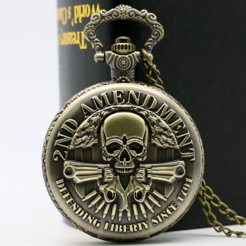 High Quality 2nd Amendment USA Theme Bronze Quartz Pocket Watch With Necklace Chain Best Gift bronze quartz pocket watch old antique superman design high quality with necklace chain for gift item free shipping