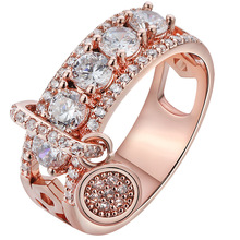 Unique Design Round Pendant CZ Ring for Woman ROSE GOLD COLOR Party Finger Jewelry Gift Dropshipping