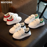 2019 children's shoes spring and autumn waterproof leather clothing boys and girls casual sports white running shoes authentic