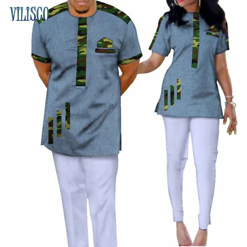 59cc42ea21 ... Traditional Bazin Riche African Print Patchwork Top and Pants Sets for Couple  Clothing 2 Pieces Sets ...