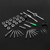 40pcs/set tap die set M3 M12 Screw Thread Metric Taps wrench Dies wrench screw Threading hand Tools Alloy Metal with bag Quality