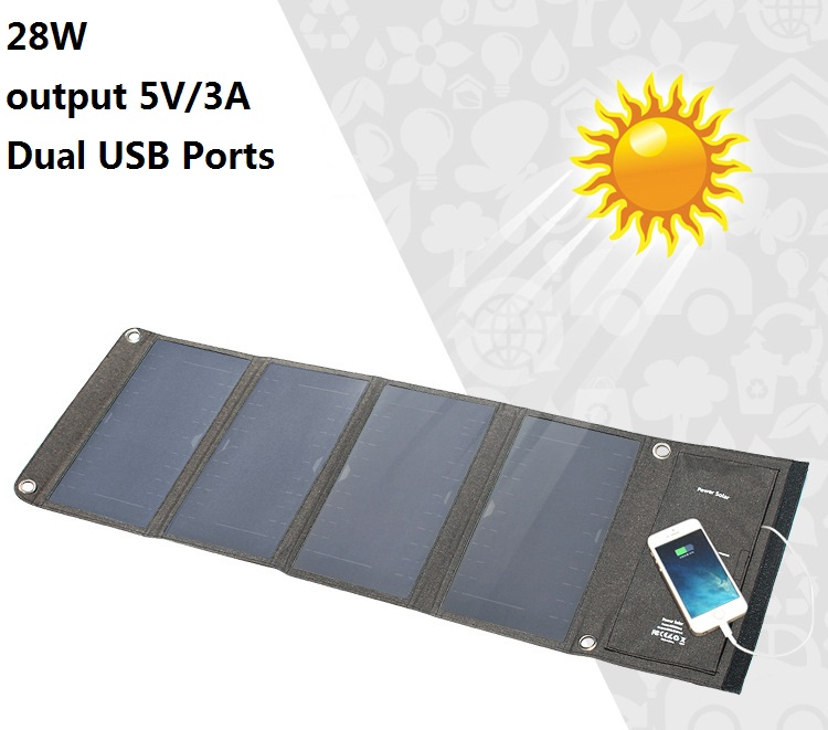 Dual USB Ports 28W Solar Panel Charger Portable Output 5V/3A Solar Cell Waterproof Power bank For Xiaomi Huawei iPhone 10000mah dual usb output ports universal light solar mobile power bank charger for cellphone tablet