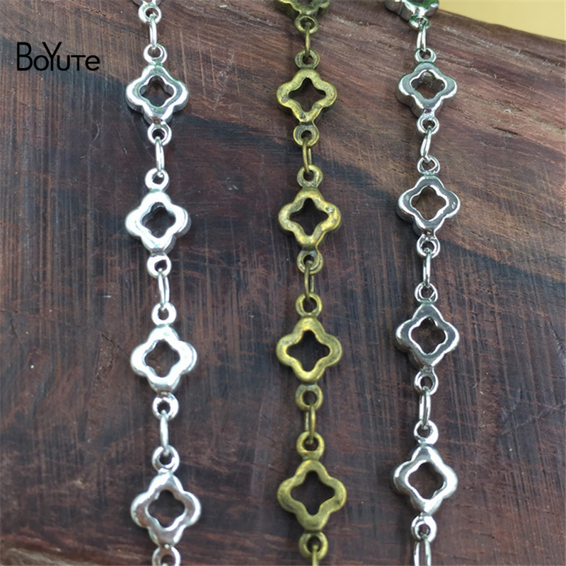 BoYuTe 2 Meters Metal Brass 6*10MM Flower Charm Link Chain Hand Made Silver Chain Diy Jewelry Findings Components