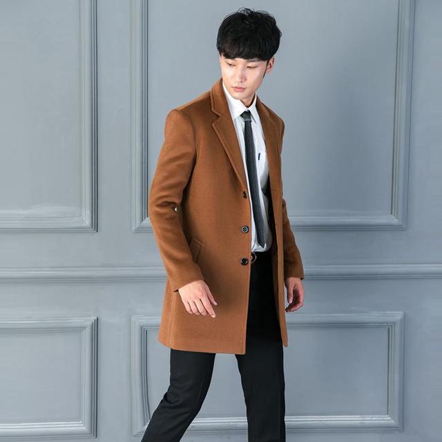 Men Wool Coat Lapel Jacket...