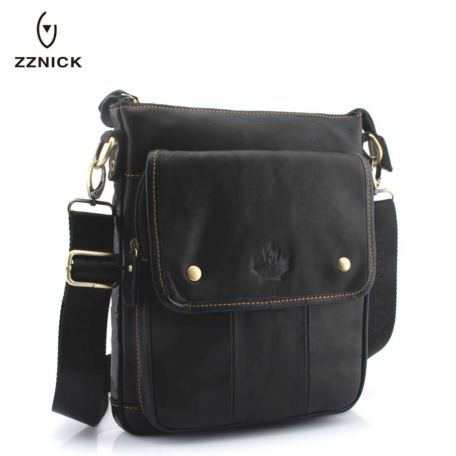 ZZNICK Men's Leather bag Genuine Leather men Bag male Shoulder Crossbody Bags Casual Handbags Small Flap Men Messenger Bags dongfang miracle high quality genuine leather men messenger bags casual shoulder bag male multifuntional small bag