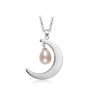 gNpearl Pearl Pendant  Necklace moon chain
